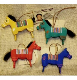 image for Navajo Folk Art Wooden Horse Ornament