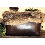 image for Coyote Fur Topped Cowhide Leather Pillow 22 x 15