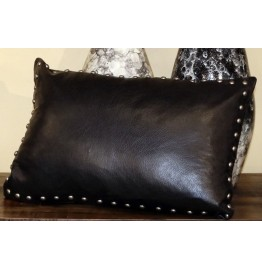 Silver Studded Black Leather Cowhide Leather Pillow 22 x 15