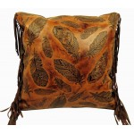 image for Fringed Feathers Embossed Leather Throw Pillow 18 x 18