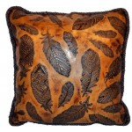 image for Feathers Embossed Leather Throw Pillow 18 x 18