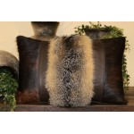 image for Genuine Fox Fur Pelt and Brindle HOH Leather Pillow 22 x 14