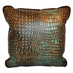 image for Faux Alligator Embossed Leather Throw Pillow 18 x 18