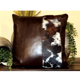 image for Brown Leather and Tri-Color Hair-On Cowhide Throw Pillow 20 x 20
