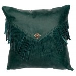 image for Peacock Blue-Green Leather Throw Pillow 16 x 16