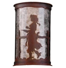 image for Pistol Drawn Cowgirl Half Round Wall Sconce Large