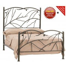 image for Pine Natural Bark Finish Iron Bed Full Complete & FREE SHEETS