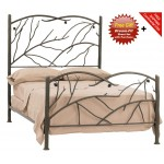 image for Pine Natural Bark Finish Iron Bed Twin Complete & FREE SHEETS