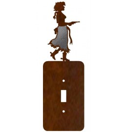 image for Pistol Cowgirl Burnished Steel Switch Plate Outlet Cover 3 Colors