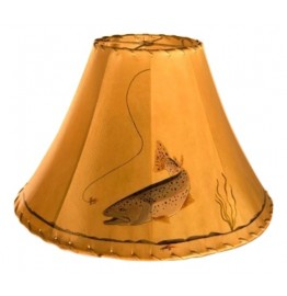image for Rainbow Trout Hand Painted Leather Lampshades