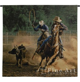 image for Roping on the Ranch III Wall Tapestry & Rod 53 x 63