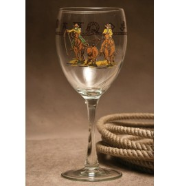 image for Rodeo Brand Team Roper Wine Glass 15.5 oz Set 8-pc
