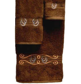 image for Horseshoes & Rope 3-Pc Bath Towel Set Brown