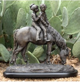 image for Backseat Driver Boy & Girl Riding Horse Sculpture