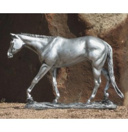 image for On the Rails Silver Horse Sculpture