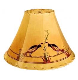 image for Acoma Quail Birds Hand Painted Leather Lampshades