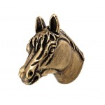 image for Horse Head Pewter Pull Knob SMALL 1-1/4 in Antique Brass