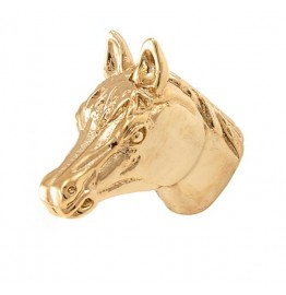 image for Horse Head Pewter Pull Knob SMALL 1-1/4 in Polished Gold