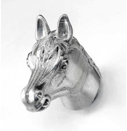 image for Horse Head Pewter Pull Knob SMALL 1-1/4 in Satin Nickel