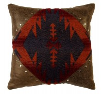 image for Southwest Silver Studded Leather Throw Pillow 18 x 18