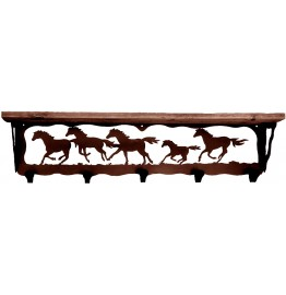 image for Running Horses 34 inch Wall Shelf (hooks avail)