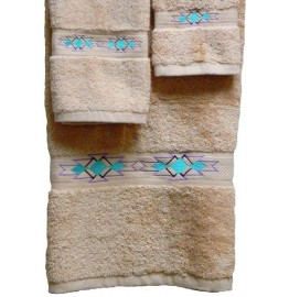 image for Taos Southwest Border 3-Pc Bath Towel Set Champagne