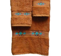 image for Taos Southwest Border 3-Pc Bath Towel Set Papaya