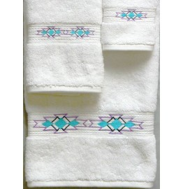 image for Taos Southwest Border 3-pc Bath Towel Set White