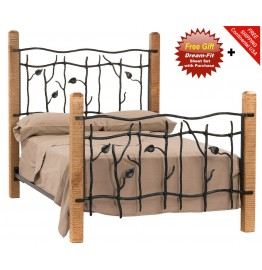 image for Sassafras Wood Post and Iron Queen Size Bed Complete & FREE SHEETS