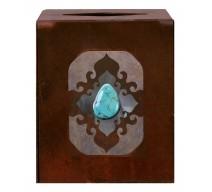 image for Turquoise Stone Accent Metal Square Tissue Box Cover