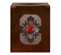 image for Red Jasper Stone Accent Metal Square Tissue Box Cover