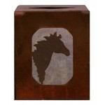 image for Horse Head Western Metal Square Tissue Box Cover