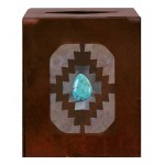 image for Desert Diamond Turquoise Accent Metal Square Tissue Box Cover