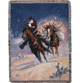 image for Santa\'s Big Ride Western Throw Blanket
