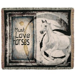 image for Must Love Horses Western Tapestry Throw Blanket