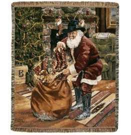 image for Santa Brings New Boots Western Throw Blanket