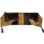 image for Oak Leaf Embossed Leather & Brindle Hair-on-Hide Leather Table Runner 12 x 54