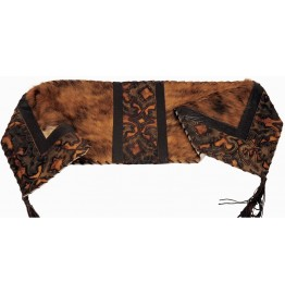 image for Laredo Sepia Embossed Leather & Brindle Hair-on-Hide Leather Table Runner 12 x 72