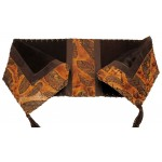 image for Feather Embossed Leather & Brown Hair-on-Hide Leather Table Runner 12 x 54