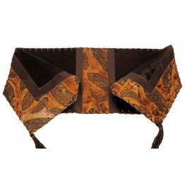 image for Feather Embossed Leather & Brown Hair-on-Hide Leather Table Runner 14 x 72