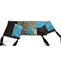 image for Turquoise Acid Washed Cowhide and Leather Table Runner 12 x 54