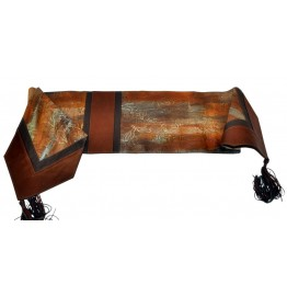 image for Hand Patina Finish on Cowhide Leather Table Runner 14 x 72