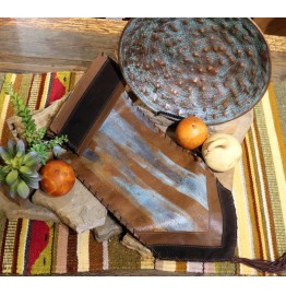 image for Hand Patina Finish on Cowhide Leather Table Runner 12 x 72