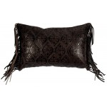 image for Fringed Embossed Leather Western Throw Pillow 12 x 18