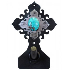 image for Turquoise Stone on Burnished Steel Robe Hook