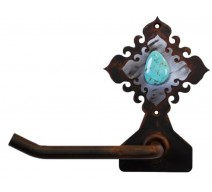 image for Turquoise Stone Burnished Steel Bath Tissue Holder