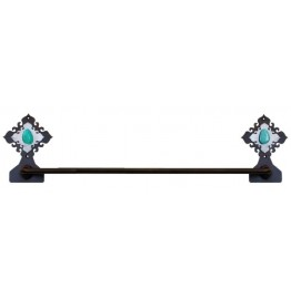 image for Turquoise Stone Burnished Steel Hand Towel Bar
