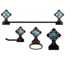 image for Turquoise Stone Accent Towel Bar Set 4-piece Burnished