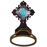 image for Turquoise Stone Burnished Steel Towel Ring