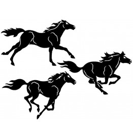 image for Three Horses 3 piece Metal Wall Art Sculpture
